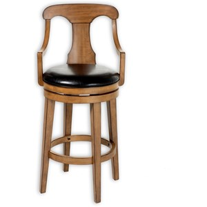 Albany Wood Counter Stool with Black Upholstered Swivel-Seat and Acorn Frame Finish