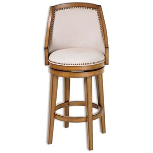 Charleston Wood Counter Stool with Putty Upholstered Nail head Trim Swivel-Seat and Acorn Frame Finish