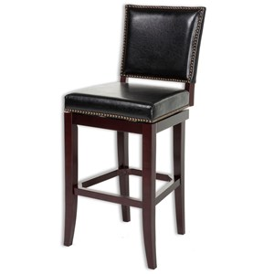 Sacramento Wood Counter Stool with Black Upholstered Nail head Trim Swivel-Seat and Espresso Frame Finish