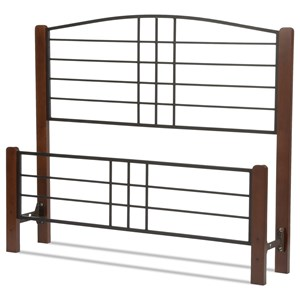 Twin Dayton Headboard and Footboard with Metal Panels and Flat Wooden Posts