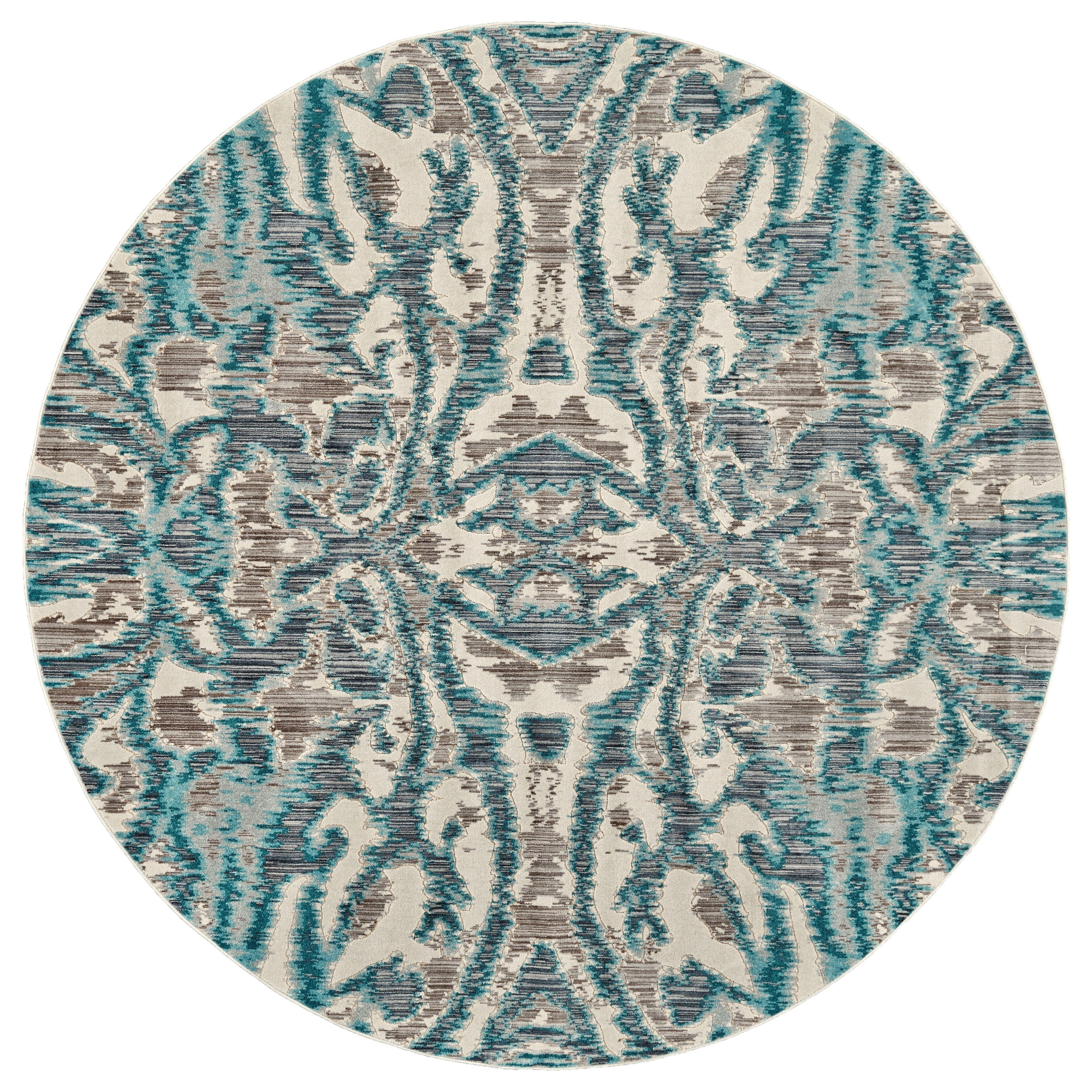 """Keats Aqua/Haze 8'-9"""" X 8'-9"""" Round Area Rug by Feizy Rugs at Jacksonville Furniture Mart"""