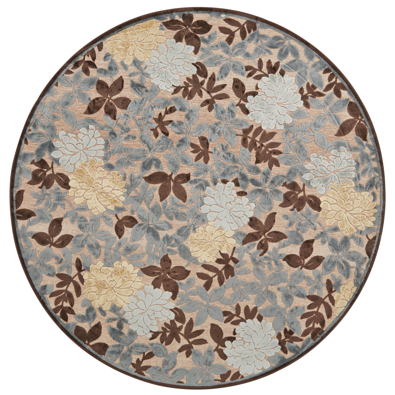 "Saphir Ivory/Dark Gray 7'-6"" X 7'-6"" Round Area Rug by Feizy Rugs at Sprintz Furniture"