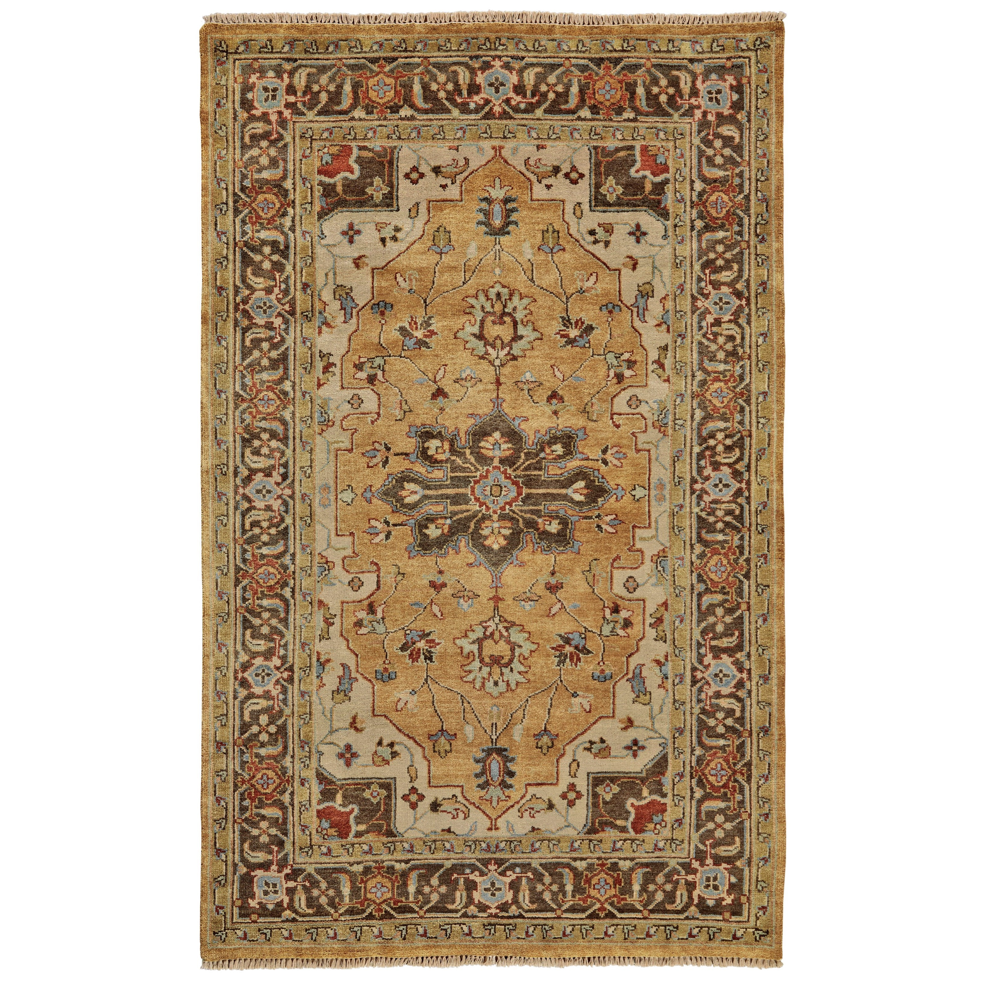 """Ustad Gold/Brown 5'-6"""" x 8'-6"""" Area Rug by Feizy Rugs at Sprintz Furniture"""