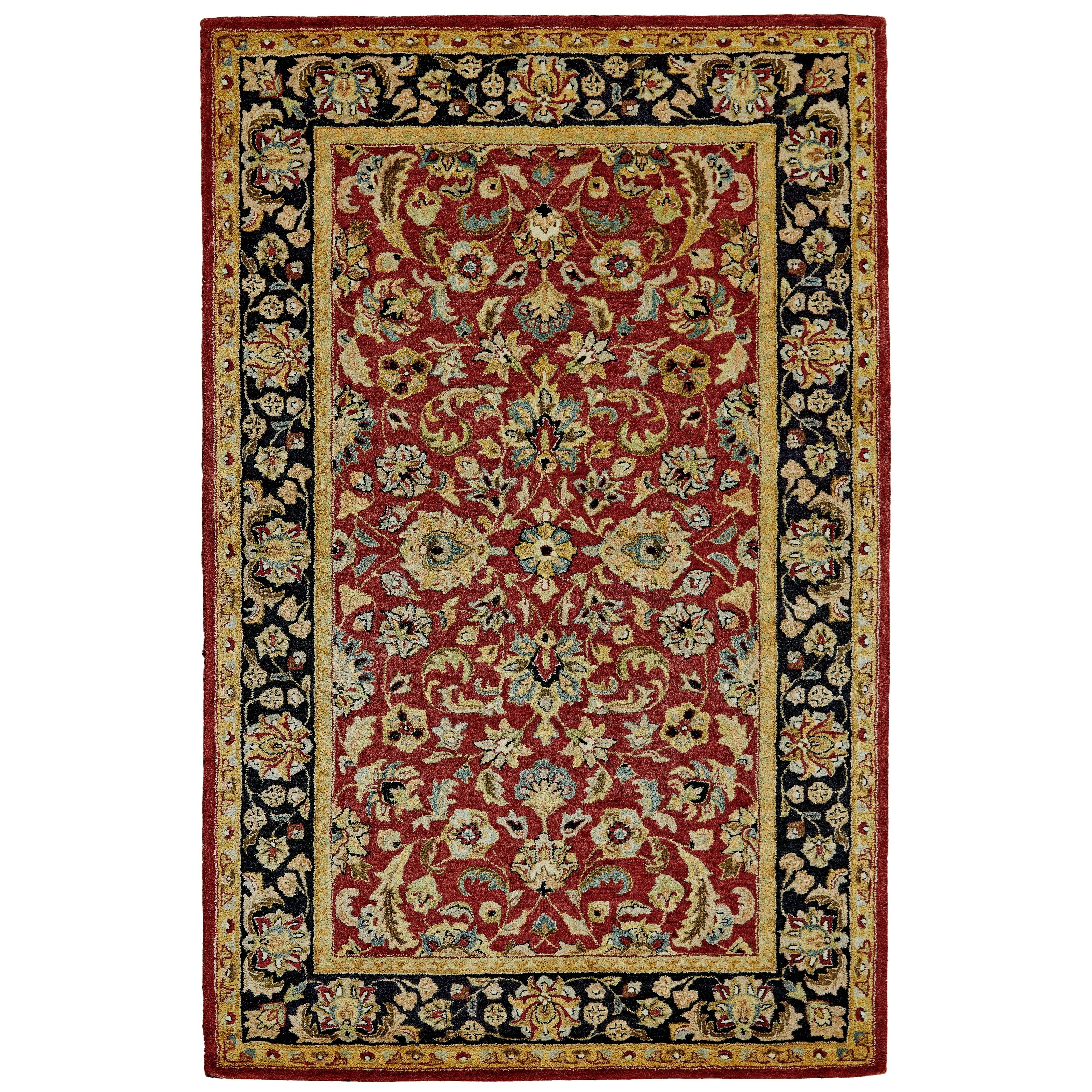 Ziba Red/Black 5' x 8' Area Rug by Feizy Rugs at Sprintz Furniture