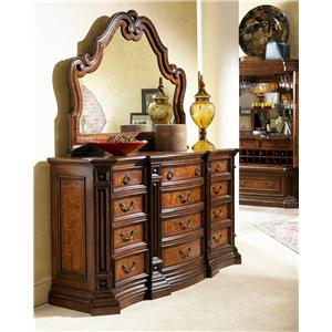12 Drawer Triple Dresser and Carved Landscape Mirror