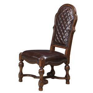 Host Side Chair with Leather Upholstery and Nailhead Trim