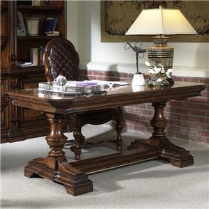 Gentleman's Writing Desk with Carved Pedestal and Trim