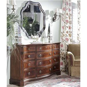 Traditional Triple Dresser and Shaped Mirror