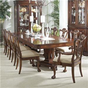 11 Piece Dining Set with Double Pedestal Table and Ball & Claw Side and Arm Chairs