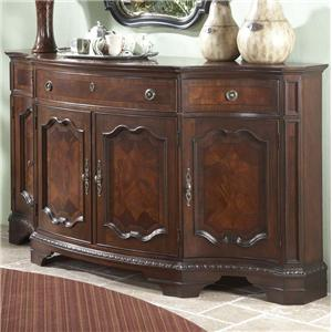 Four-Door Three-Drawer Shapely Buffet with Decorative Traditional Moldings & Bracket Feet