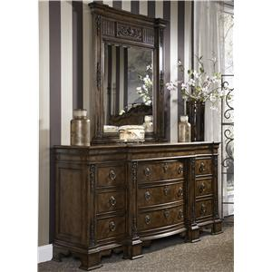 Traditional  Antique Dresser & Mirror Combo with Hidden Drawer