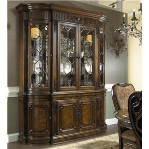 Formal Antique Style Break Front China Cabinet with Buffet Bottom