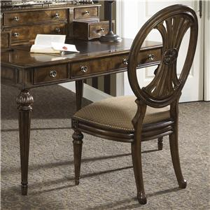 Traditional Oval Back Writing Desk Chair with Coffee Upholstery