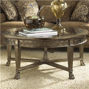 Grecian Style Round Coffee Table with Glass Top