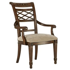 Lattice Dining Arm Chair with Scroll Arms