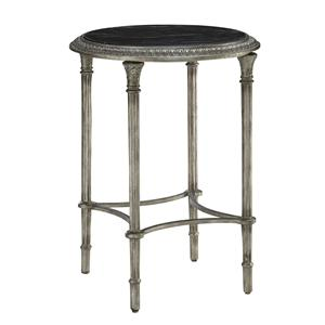 Round Metal Table with St. Laurent Marble Surface