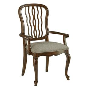 Carved Back Dining Arm Chair with Scroll Arms