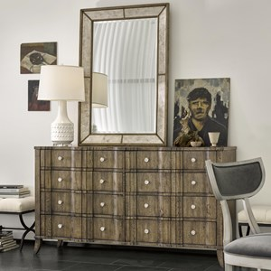 Theo Dresser and Kent Mirror Set with Eight Drawers