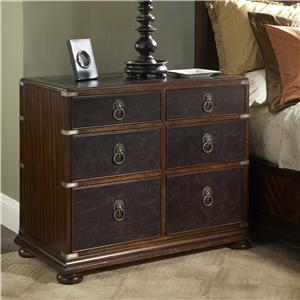 Leather Front Bedside Chest of Drawers