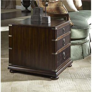 3 Drawer End Table with Tooled Leather Top