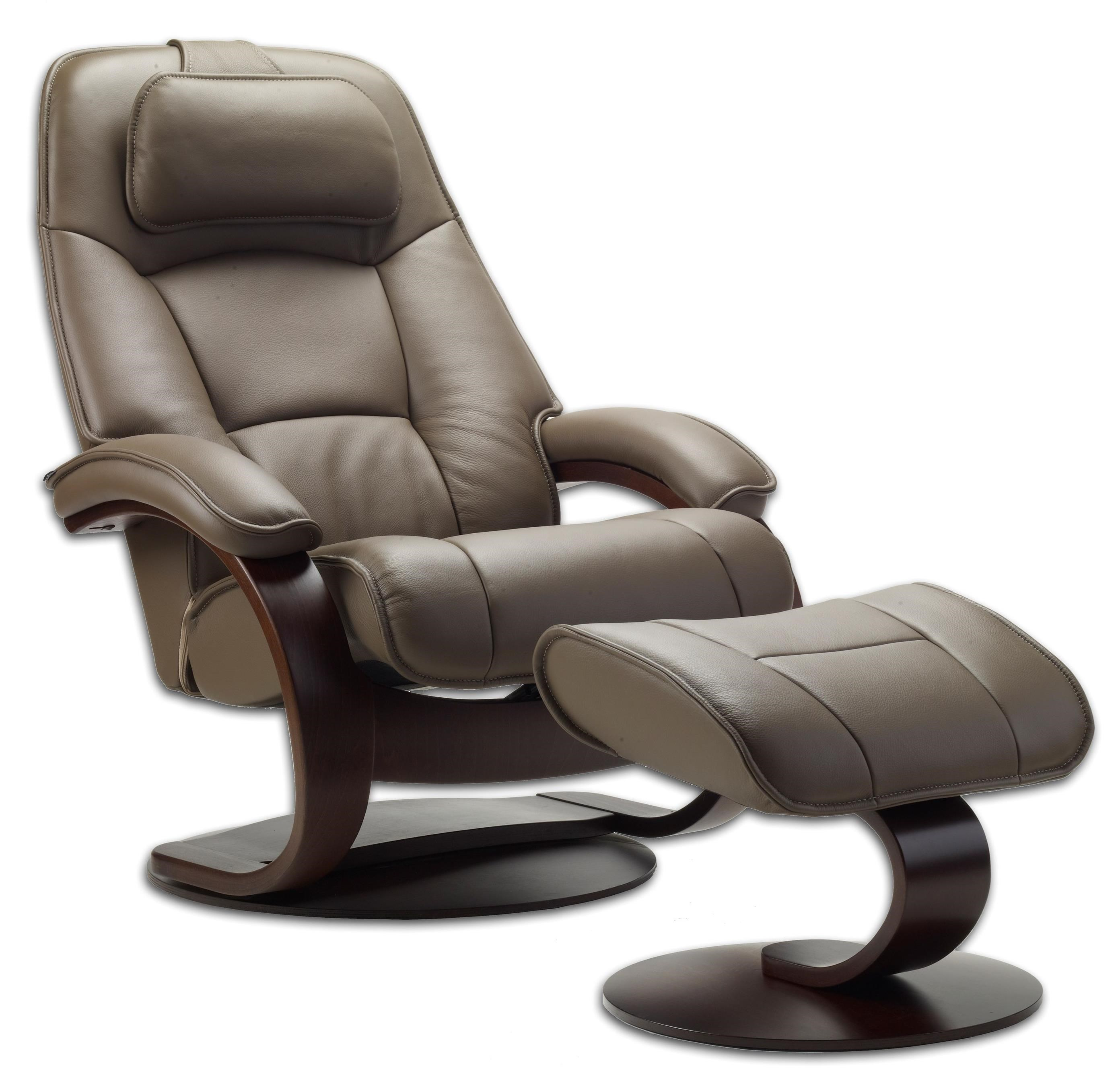 Admiral Large Reclining Chair and Ottoman by Fjords by Hjellegjerde at Saugerties Furniture Mart
