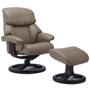 Large Contemporary Recliner and Ottoman with Padded Arms