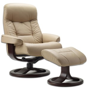 Large Contemporary Padded Recliner and Ottoman with Swivel Base