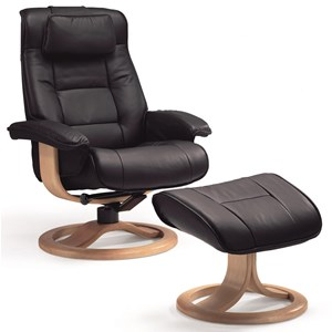 Large Contemporary Recliner and Ottoman with Swivel Base