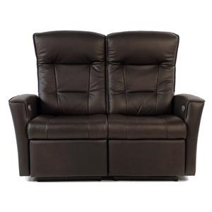 Power Reclining Wall Saver Leather Loveseat with Track Arms