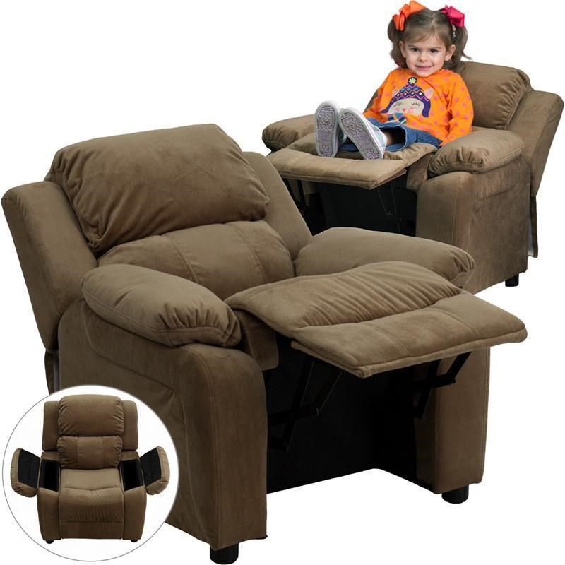 Kids Recliner with 2 Storage Arms Brown Microfiber Kids Recliner by Flash Furniture at Westrich Furniture & Appliances
