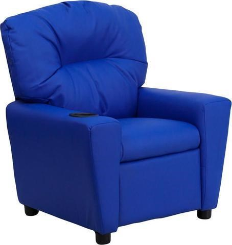 Kids Recliner with 1 Cup Holder Blue Vinyl Kids Recliner by Flash Furniture at Westrich Furniture & Appliances