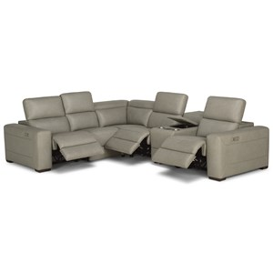 Contemporary Reclining Sectional Sofa with Power Headrests and Speaker Console