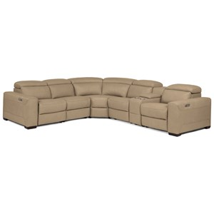 Contemporary Power Reclining Sectional with Power Headrests and Speaker Console