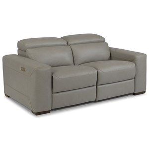 Contemporary Reclining Sectional Love Seat with Power Headrests