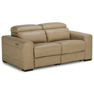 Contemporary Reclining Sectional Loveseat with Power Headrests