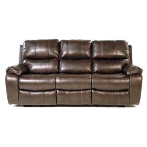 Double Reclining Power Sofa with Pillow Arms and Bucket Seats