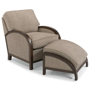 Flexsteel Accents Comac Chair and Ottoman Set