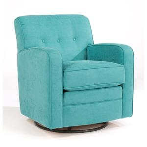 Lavendar Swivel Glider Chair with Tufting and Track Arms