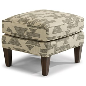 Transitional Ottoman with Tall, Tapered Legs