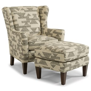 Transitional Chair and Ottoman Set with Tall, Tapered Legs