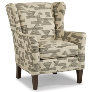 Transitional Wing Chair with Tall, Tapered Legs