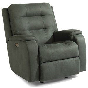 Contemporary Power Rocking Recliner with Power Headrest and Lumbar