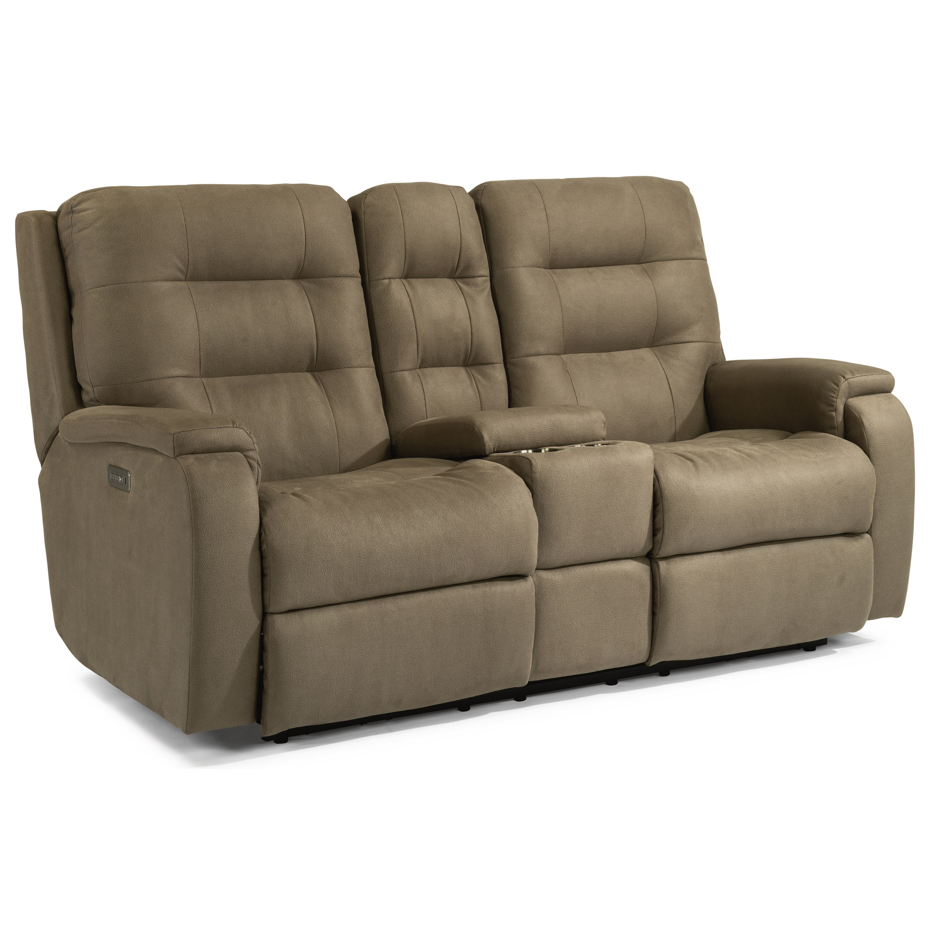 Arlo Power Headrest Reclining Console Loveseat by Flexsteel at Fisher Home Furnishings