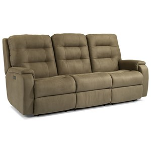Contemporary Power Reclining Sofa with Power Headrests and Lumbar