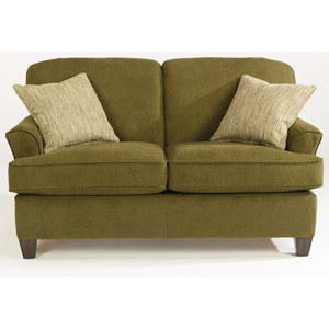 Casual Loveseat with Tapered Wood Feet