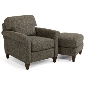 Transitional Chair and Ottoman Set with Rolled Arms