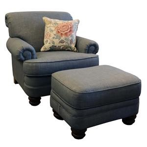 Traditional Rolled Back Chair & Ottoman Set