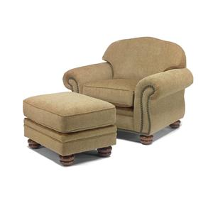 Traditional Chair and Ottoman with Nail Head Trim