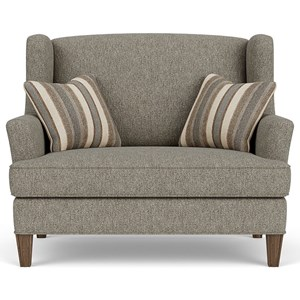 Upholstered Settee with Tapered Wood Feet