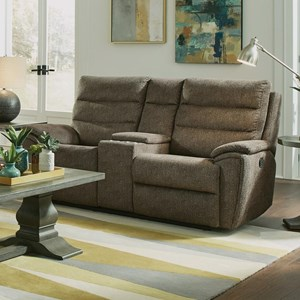 Casual Reclining Gliding Console Loveseat with Cupholders